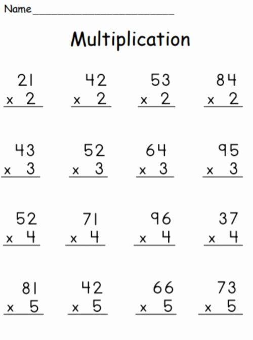 small resolution of 2 by 1 Digit Multiplication Worksheets top Multiplication 2 Digit by 1 Digit  with Regrouping – Printable Math Worksheets