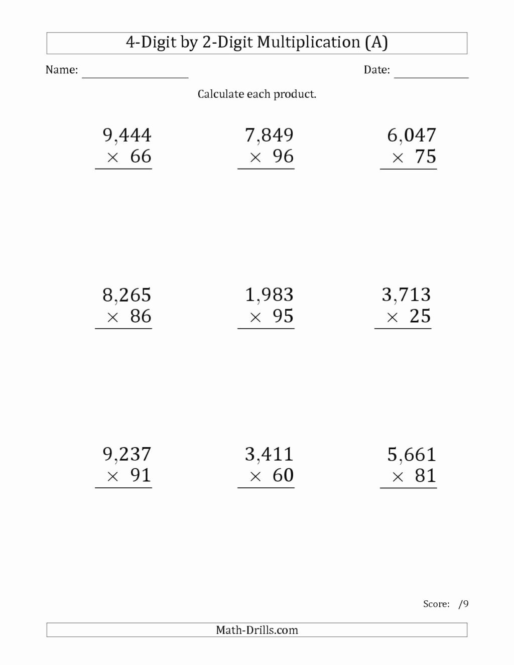 hight resolution of 2 by 2 Multiplication Worksheets Awesome Math Worksheet Printable  Multiplications for Grade Digit – Printable Math Worksheets