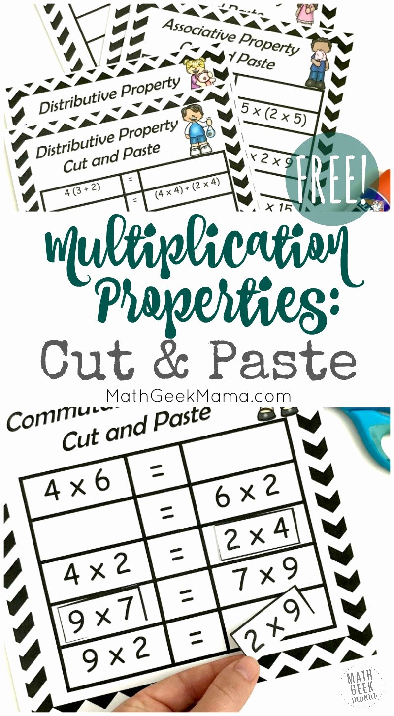 hight resolution of 3rd Grade Commutative Property Of Multiplication Worksheets Inspirational  Free Properties Of Multiplication Cut \u0026 Paste Practice – Printable Math  Worksheets
