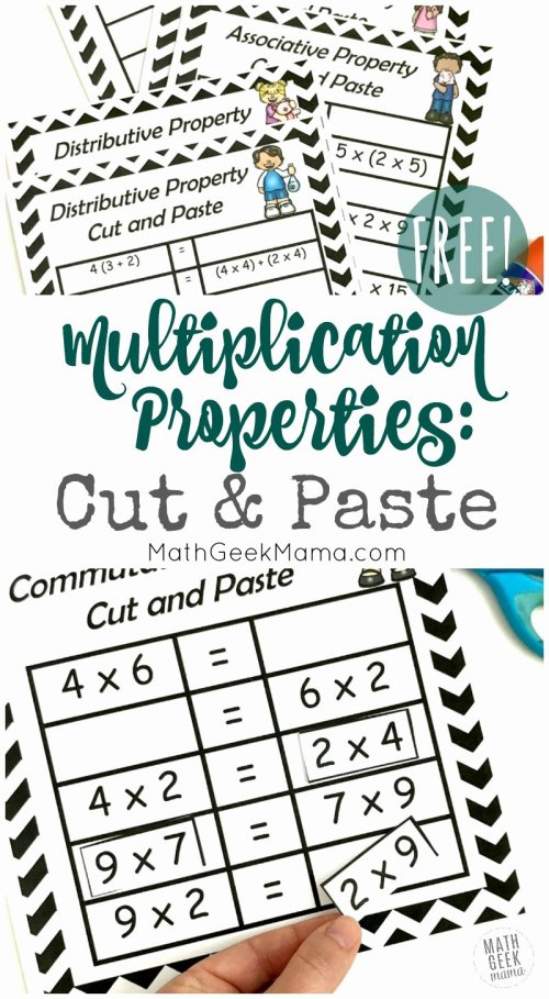 small resolution of 3rd Grade Commutative Property Of Multiplication Worksheets Inspirational  Free Properties Of Multiplication Cut \u0026 Paste Practice – Printable Math  Worksheets