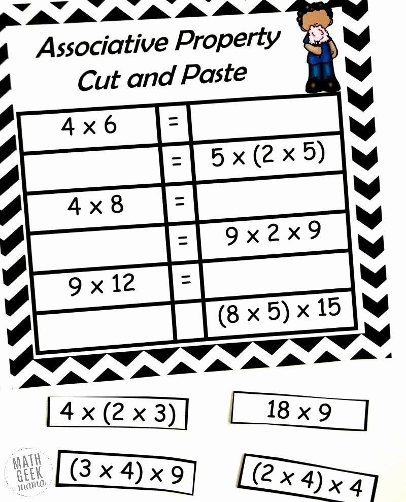 hight resolution of 3rd Grade Commutative Property Of Multiplication Worksheets top Free  Properties Of Multiplication Cut \u0026 Paste Practice – Printable Math  Worksheets