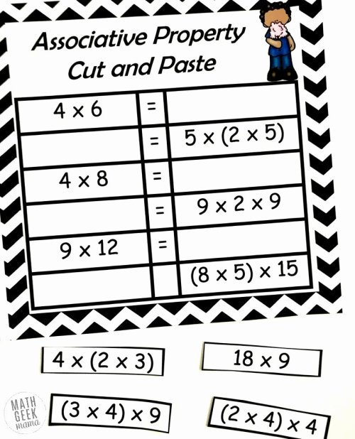 small resolution of 3rd Grade Commutative Property Of Multiplication Worksheets top Free  Properties Of Multiplication Cut \u0026 Paste Practice – Printable Math  Worksheets