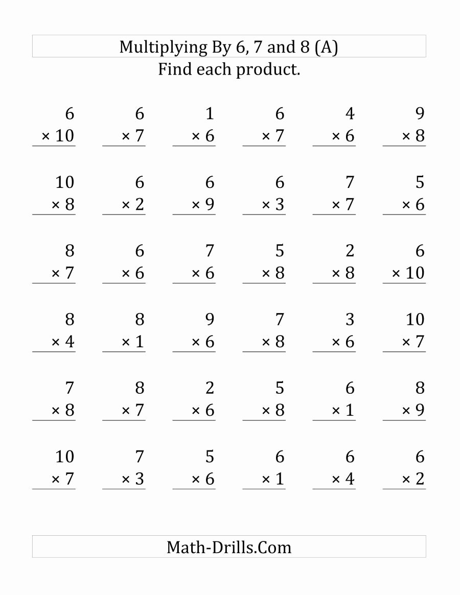 medium resolution of 6 7 8 9 Multiplication Worksheets Best Of Multiplying 1 to 10 by 6 7 and 8  36 Questions Per Page – Printable Math Worksheets