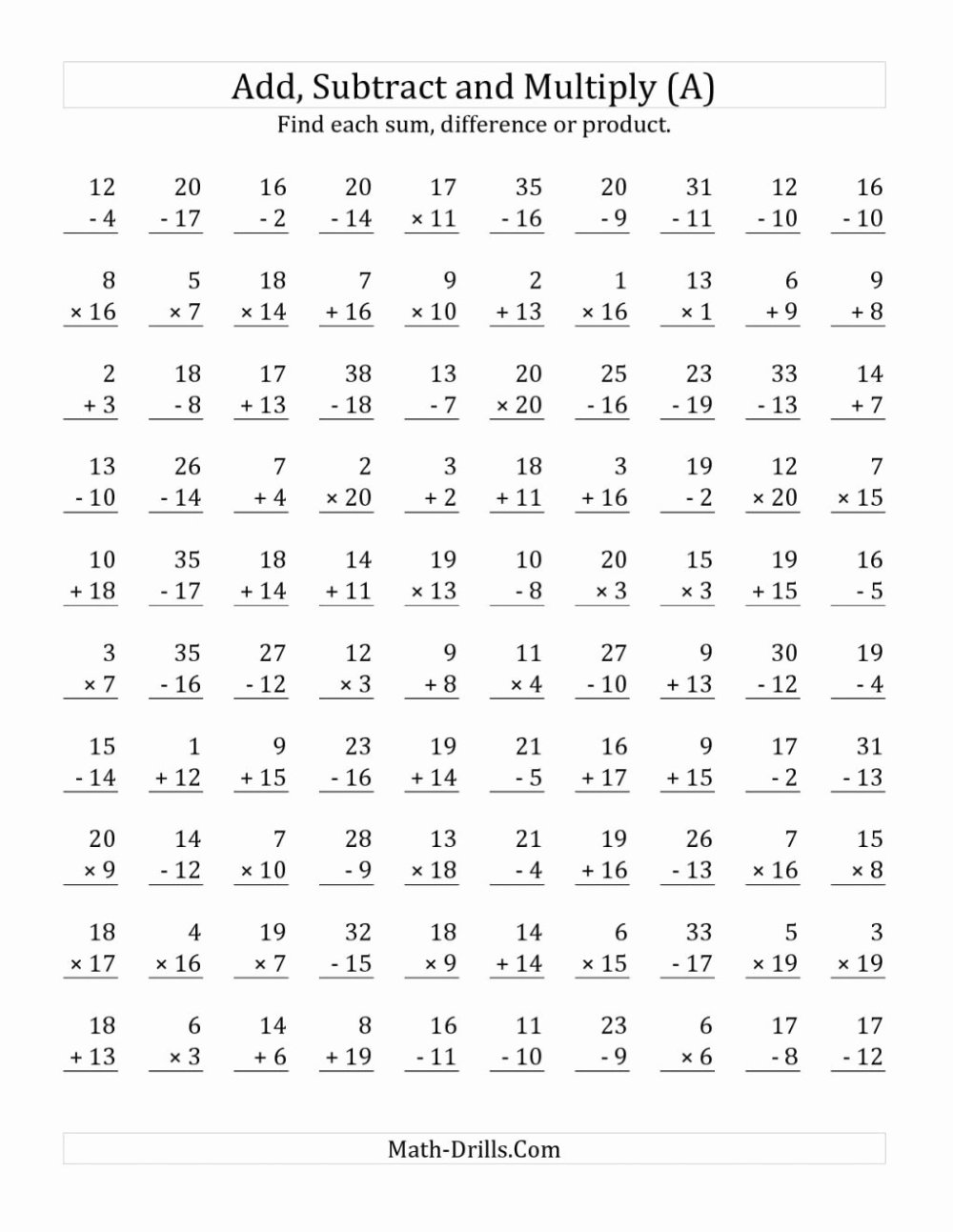 medium resolution of Addition Subtraction and Multiplication Worksheets top Multiplication  Worksheet Dad S Eight Rules Times Table – Printable Math Worksheets