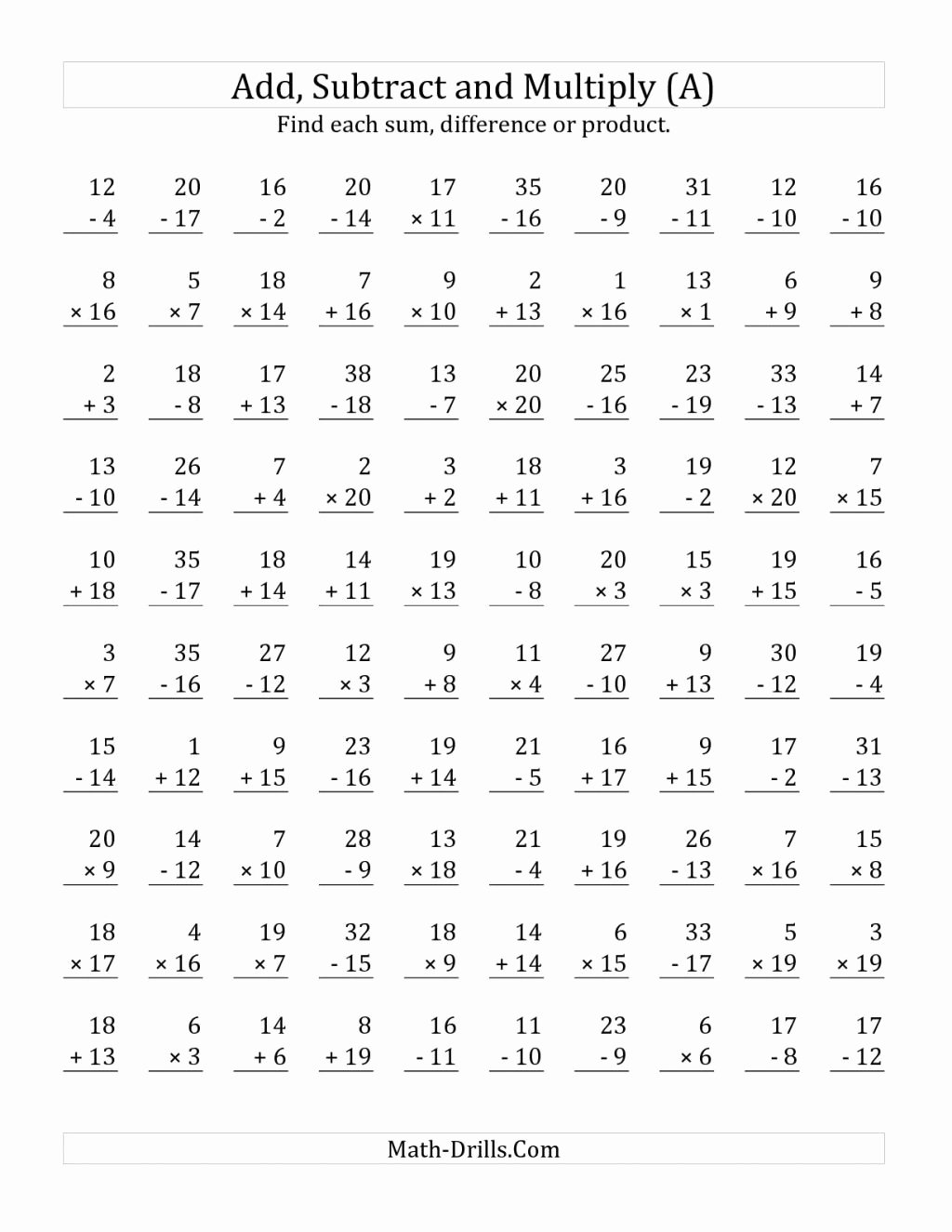 hight resolution of Addition Subtraction and Multiplication Worksheets top Multiplication  Worksheet Dad S Eight Rules Times Table – Printable Math Worksheets