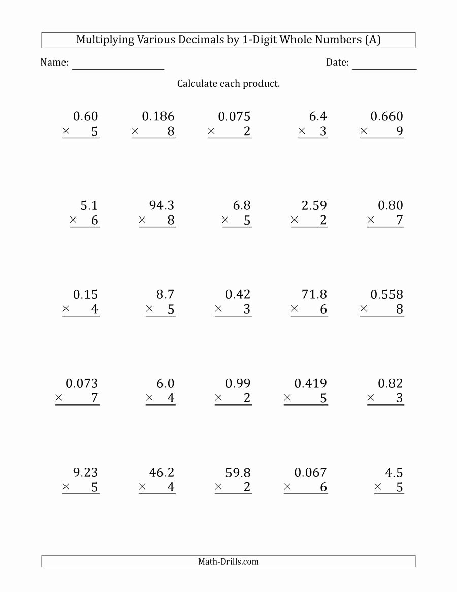 medium resolution of Decimal Multiplication Worksheets Best Of Worksheet 5th Grade Math Worksheets  Decimals Free Decimal – Printable Math Worksheets