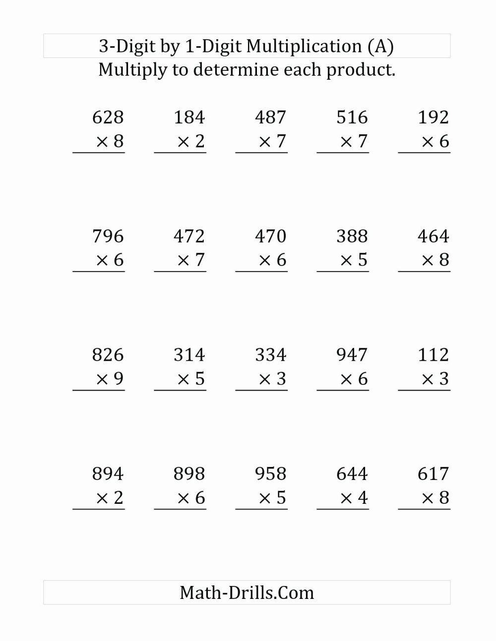 medium resolution of Free Printable Multiplication Worksheets for Grade 3 Fresh Three Digit Multiplication  Worksheets Free Printable Triple – Printable Math Worksheets