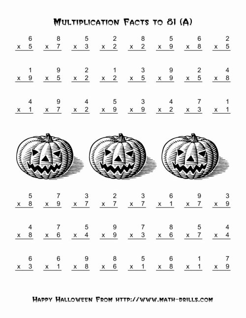 small resolution of Halloween Multiplication Worksheets Inspirational All Operations  Multiplication Facts to 81 A – Printable Math Worksheets
