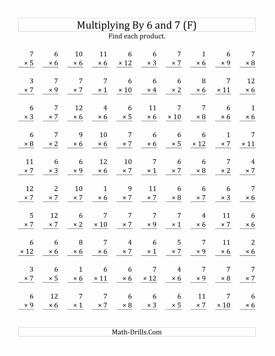 hight resolution of Maths Multiplication Worksheets for Grade 3 top the Multiplying 1 to 12 by  6 and 7 F Math Worksheet – Printable Math Worksheets