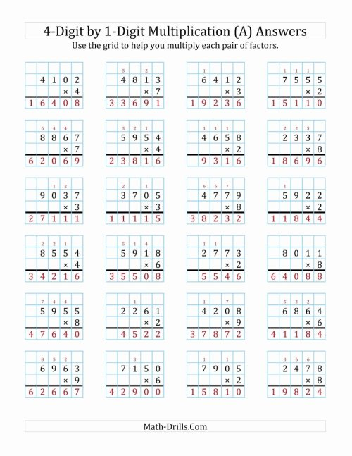small resolution of Multiplication Worksheets Grade 4 Math Drills   Printable Math Worksheets