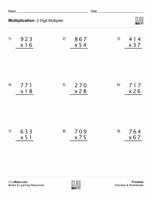 small resolution of Multiplication Worksheets Grade 5 3 Digit by 2 Digit New the Multiplying 3  Digit by 2 Digit Numbers A Math – Printable Math Worksheets