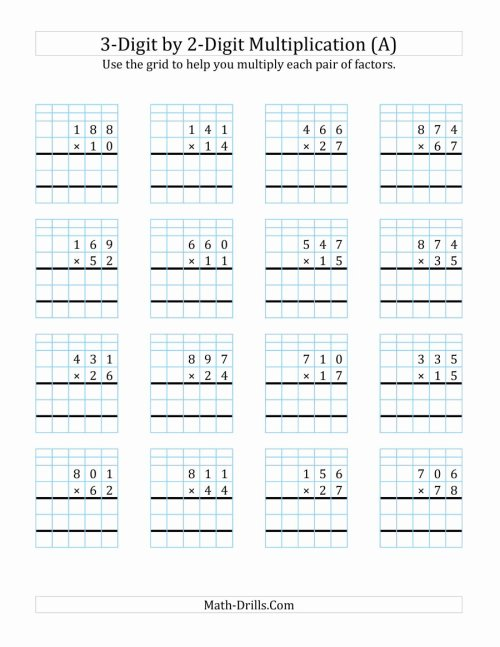 small resolution of Multiplication Worksheets Grade 5 3 Digit by 2 Digit Unique 3 Digit by 2  Digit Multiplication with Grid Support A – Printable Math Worksheets