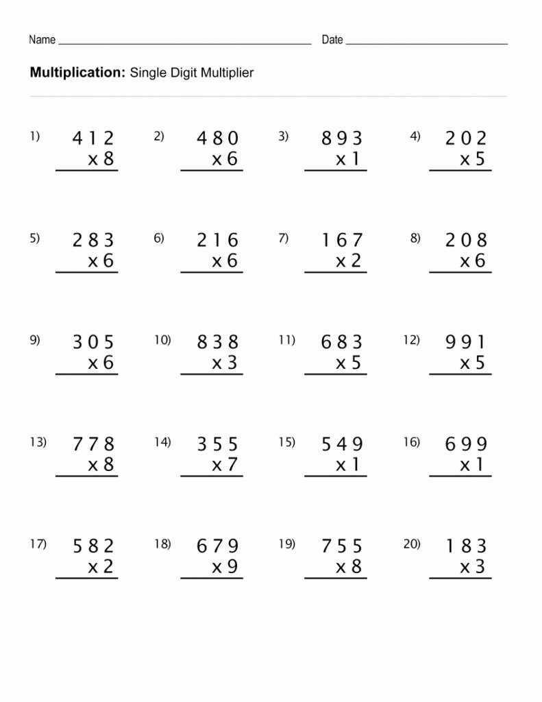 medium resolution of Practice Multiplication Worksheets 4th Grade   Dontpayoj.com
