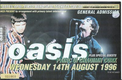 My ticket for the Oasis gig in Cork in 1996