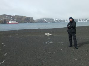 Jonny Blair the travelling Northern Irishman with a seal in Antarctica in 2010 a lifestyle of travel