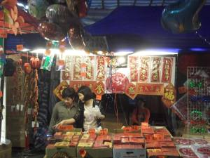 Red packets at the night market in Hong Kong