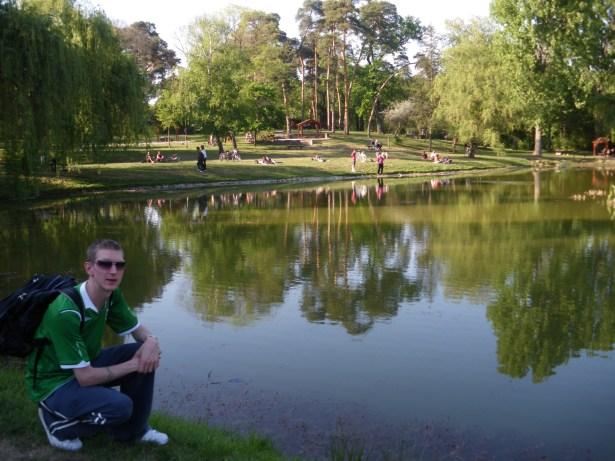 Jonny Blair relaxing by a lake in Debrecen