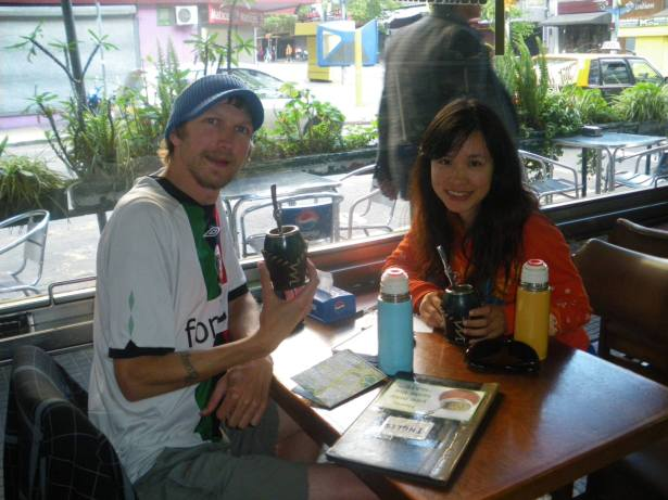 Jonny Blair and Panny Yu trying Mate Tea in Montevideo Uruguay