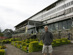 Jonny Blair at a tea factory in Haputale