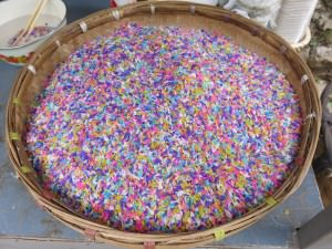 Chinese coloured rice with sugar in Yunnan