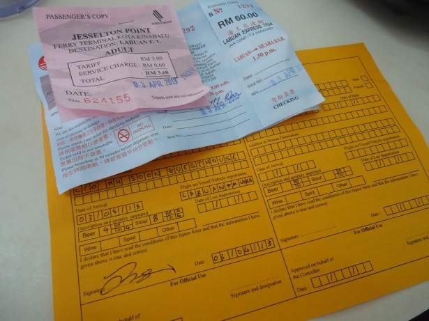 Customs form for Brunei at Serasa ferry terminal