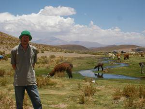 Jonny Blair in Bolivia with llamas