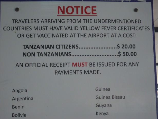 tanzania kilimanjaro airport yellow fever
