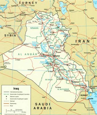 iraq border map