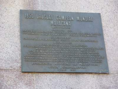 Plaque celebrating the 1950 World Cup win in the Maracana v. Brazil.