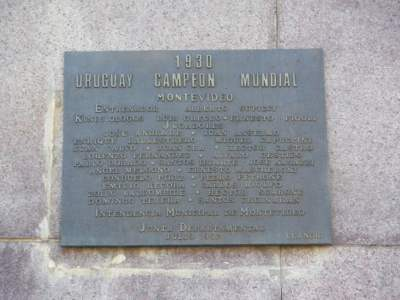 Plaque celebrating the 1930 World Cup win in Montevideo, Uruguay.