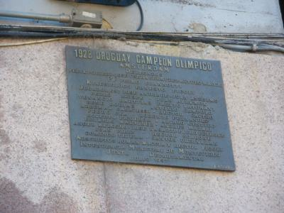 Plaque celebrating the 1928 Olympics win in Amsterdam.