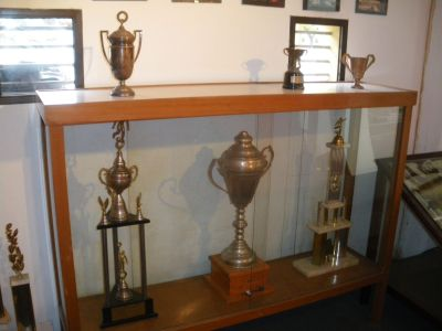 Some of the many trophies in the countless cabinets. Uruguay have won a lot.