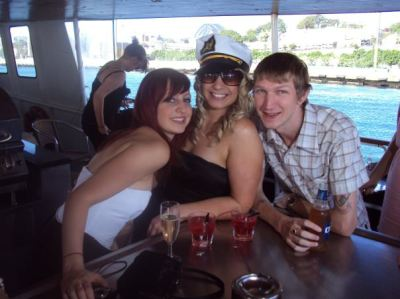 With Nadine Saad and crazy Rhiannon on a party boat in Sydney.