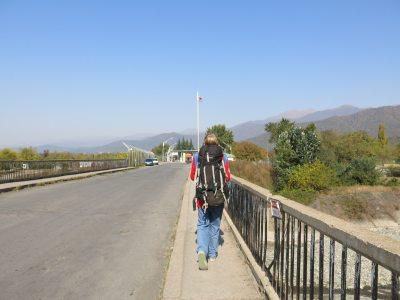 Walking across the Azerbaijan to Georgia border en route to Sighnaghi.
