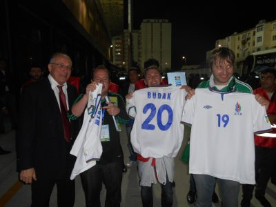 The lads showing off their free Azerbaijan shirts after the match at the Bakcell Arena.