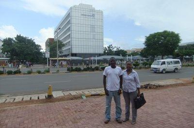 Diamonds in Botswana: My friends Louis and Fingile outside Debswana's offices