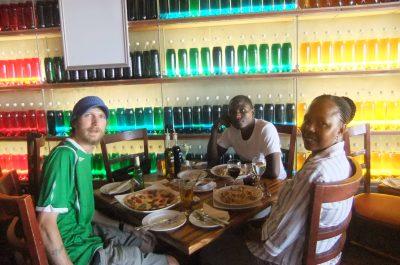 Reunion dinner with Louis and Fingi in Gaborone, Botswana