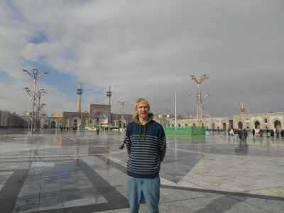 In the main courtyard in front of the Gohar Shad Mosque.