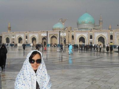 A photo of Panny inside the Imam Reza complex.