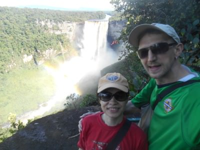 Panny and I enjoying our first viewpoint of Kaieteur Falls.