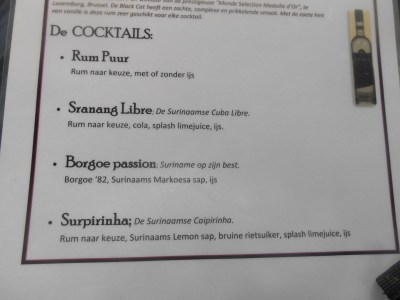 The cocktail menu on the party boat.