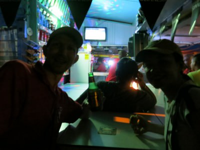 Watching the Costa Rica v Greece penalty shoot out in Fat Heads pub in Parika, Guyana!