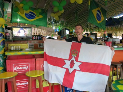 Flying the Northern Ireland flag in Belem watching the last Quarter Final.