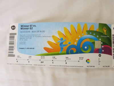 My ticket for the 2014 World Cup Final in Rio de Janeiro, Brazil.