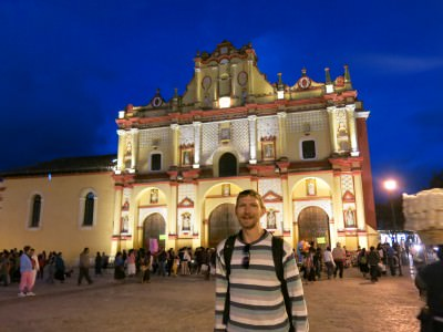 Catedral at night in San Cristobal de las Casas.