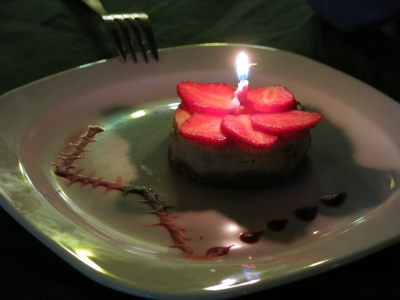 Strawberry cake and candle.