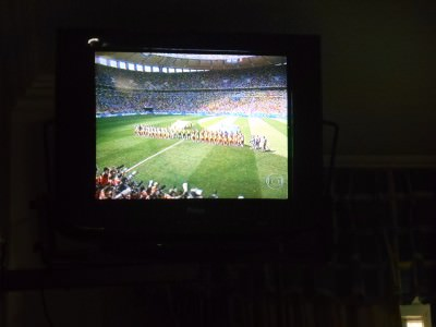 Watching the World Cup in our room.