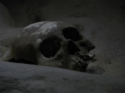 A Mayan Skull in the caves - photo courtesy of Ray from The World According to Weech.