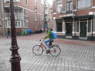 Cycling in Amsterdam, Netherlands.