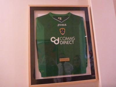 Wall of fame in Kilmaine - Josh Magennis's shirt.